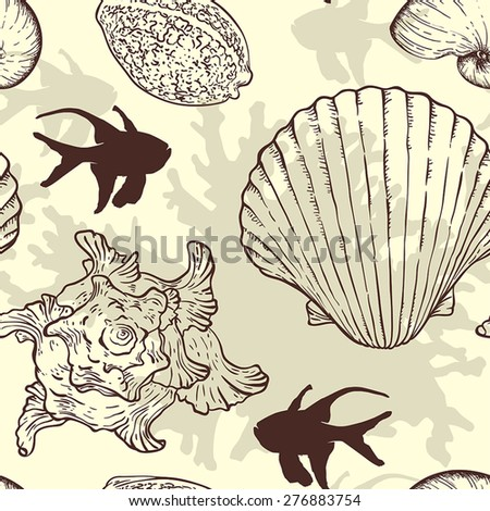 Marine vector seamless pattern with sea shells and fishes