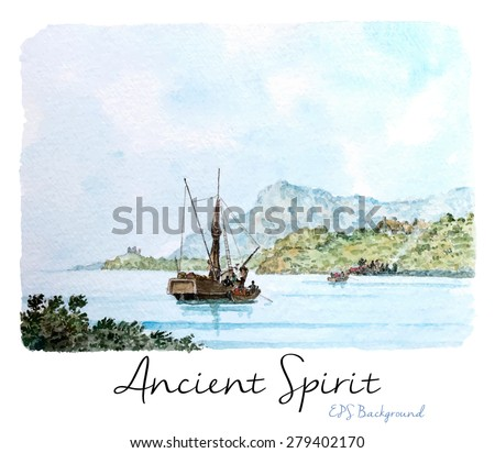 Marine Watercolor Painting, Vintage Seascape Background,Tall ship near the beach, Transhipment, Vector Illustration. - stock vector