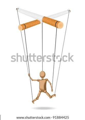 Marionette suspended for cigarettes (concept) is isolated from the background - stock vector