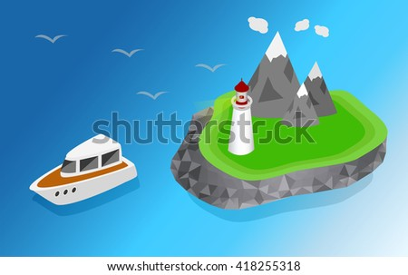 Maritime lighthouse on the island isometric style. The ship is sailing to the lighthouse vector isometric illustration - stock vector