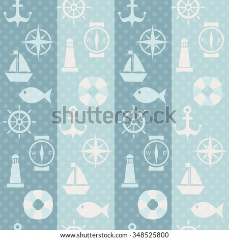 Maritime mood, Seamless pattern with sillhouetes of nautical symbols