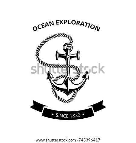 Maritime symbols logo - anchor with rope and with black ribbon for text