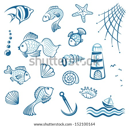 Maritime, vector set, fish and mussel - stock vector