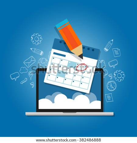 mark circle your calendar agenda online cloud planning laptop - stock vector