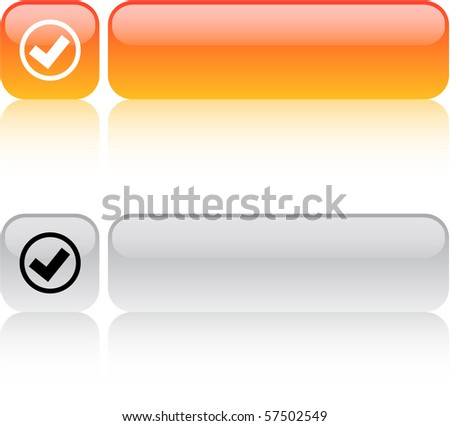 Mark glossy square web buttons. - stock vector