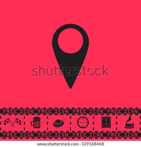 Mark, pointer. Black flat vector icon and bonus symbol - Racing flag, Beer mug, Ufo fly, Sniper sight, Safe, Train on pink background - stock vector