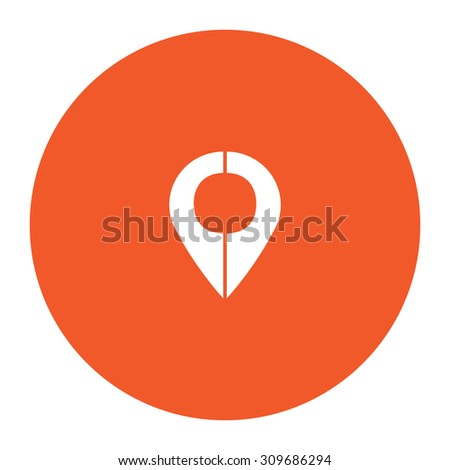 Mark pointer. Flat white symbol in the orange circle. Vector illustration icon - stock vector