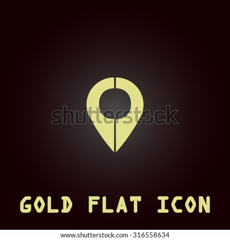 Mark pointer. Gold flat vector icon. Symbol for web and mobile applications for use as logo, pictogram, infographic element - stock vector