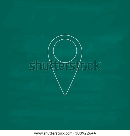 Mark, pointer. Outline vector icon. Imitation draw with white chalk on green chalkboard. Flat Pictogram and School board background. Illustration symbol - stock vector