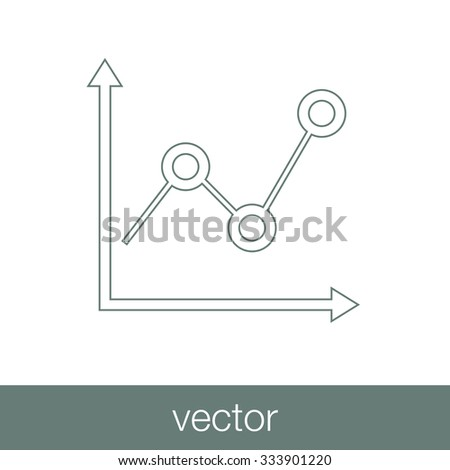 Marked Line Chart Icon - Chart Icon - Info Graphic Chart Icon - Business Growth Icon - Data Analysis Chart Icon - Concept Flat Style Design Illustration Icon - stock vector