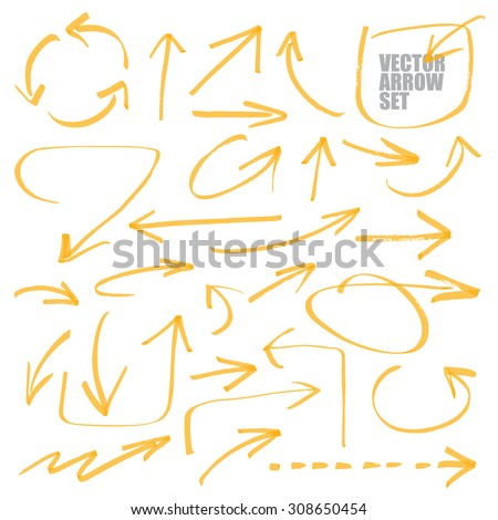 marker drawing series - arrows - color can be changed by one click - stock vector