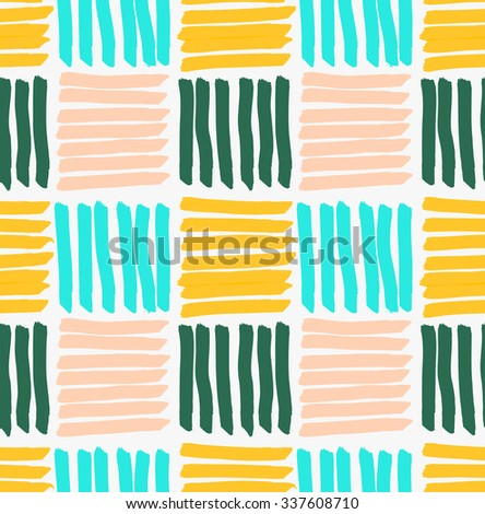 Marker drawn horizontal and vertical striped squares.Hand drawn with marker seamless background.Modern hipster style design.