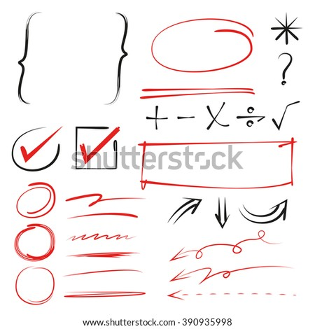marker elements, math sign, arrows - stock vector