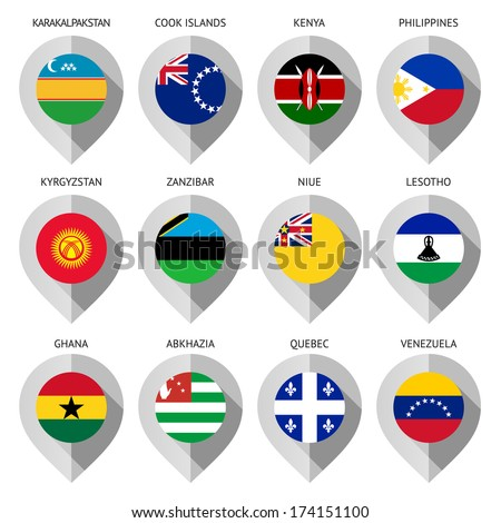 Marker from paper with flag for map - set sixteen - stock vector