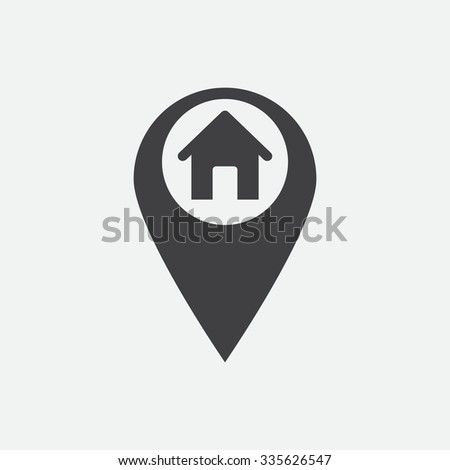 Marker location icon. Vector illustration. House sign