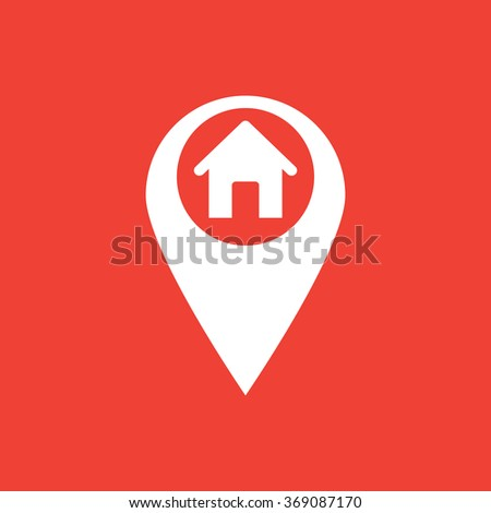 Marker location icon with house sign