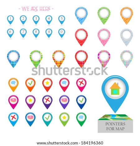 Marker points for pinpointing locations on a map - stock vector