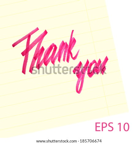 Marker texture thank you note.Vector illustration. - stock vector