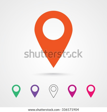 Marker vector icon template design in orange colorful colors. Modern pointer logo element. Location map pin illustration with soft shadow on gray background. Transparent circle outline style included. - stock vector