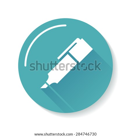 Marker white icon silhouette. Blue circle background. Long shadow. Vector illustration.
