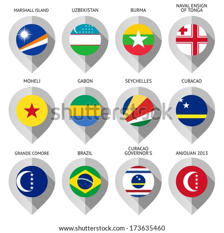 Markers from paper with flag for map - set eleventh. I drawed these flags: Curacao Governor's, Naval Ensign Of Tonga, Curacao, Anjouan, Grande Comore, Marshall Island, Moheli, Uzbekistan, Gabon - stock vector