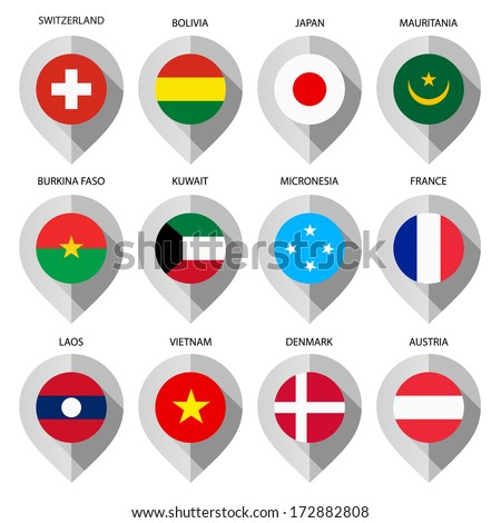 Markers from paper with flag for map - set first.  - stock vector