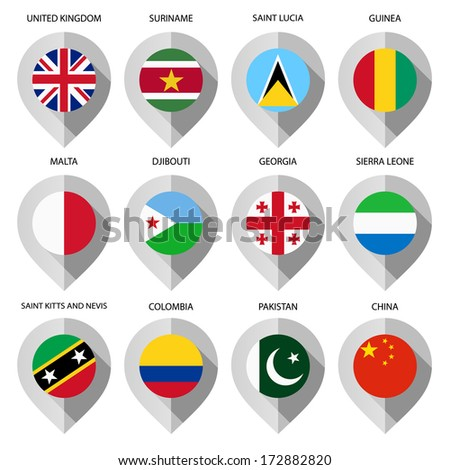 Markers from paper with flag for map - set fourth - stock vector