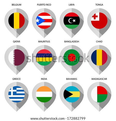 Markers paper flag map set ninth stock vector 172882799 shutterstock markers from paper with flag for map set ninth sciox Gallery