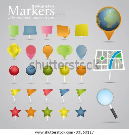 Markers, globe, map and magnifying glass. Icon set. - stock vector