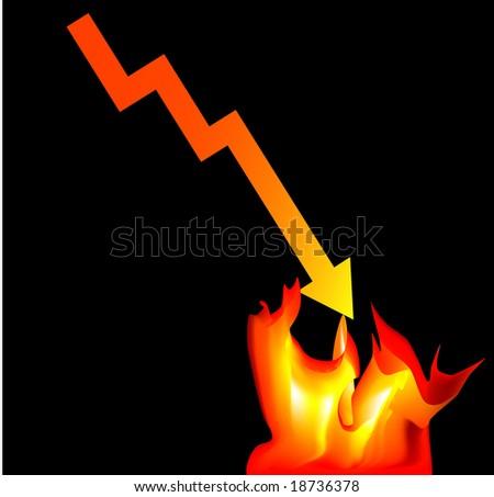 Market Crash and burn - stock vector