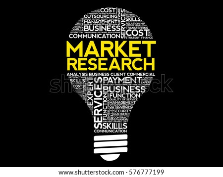 Market Research Bulb Word Cloud Business Stock Vector