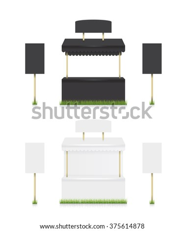 Market stall shop black and white - stock vector