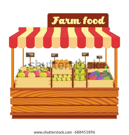 Market Wood Stand Farm Food Vegetables Stock Vector