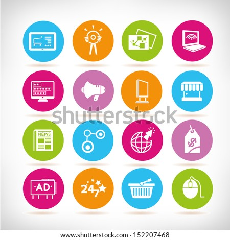 marketing and advertising icons, round button set - stock vector