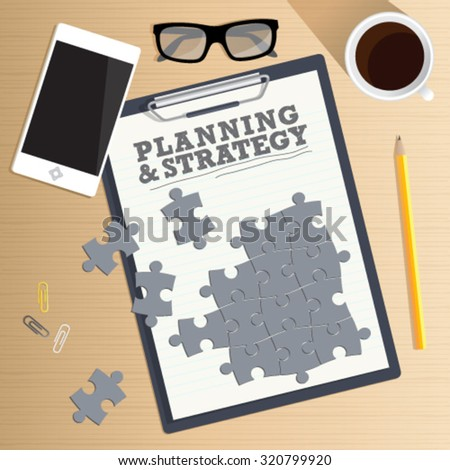 Marketing and strategy concept. Office desk table. Top view vector of the with puzzle pieces, smart phone, stationery and coffee cup. Concept for website banner, background and marketing material. - stock vector