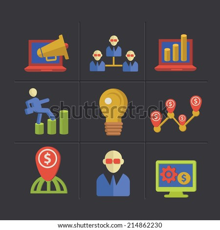 Marketing cartoon icons,clean vector - stock vector