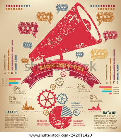 Marketing concept  info graphic design on old paper,grunge vector - stock vector