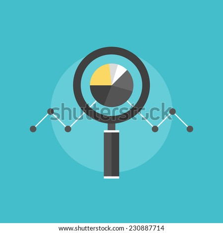 Marketing data analytics, analyzing statistics chart, magnifying glass with stock market graph figures. Flat icon modern design style vector illustration concept. - stock vector