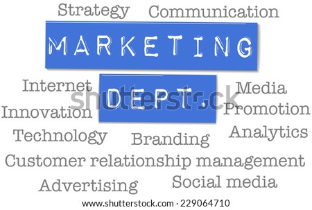 Marketing Department strategy ad words on plastic labels - stock vector