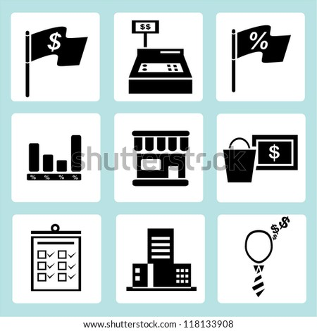 marketing icon set, financial icon set - stock vector