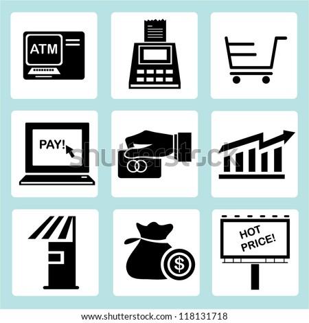 marketing icon set, financial icon set, shopping icon set - stock vector