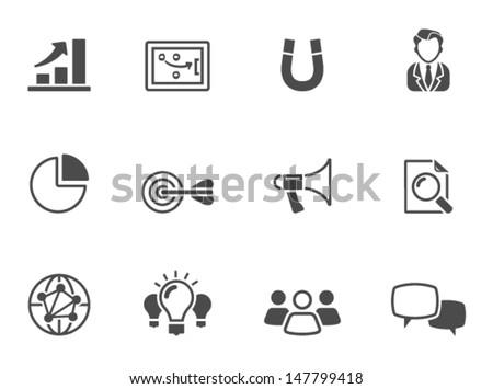 Marketing icons in single color - stock vector