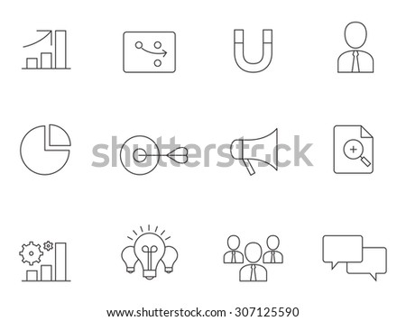 Marketing icons in thin outlines. Business, sales. - stock vector
