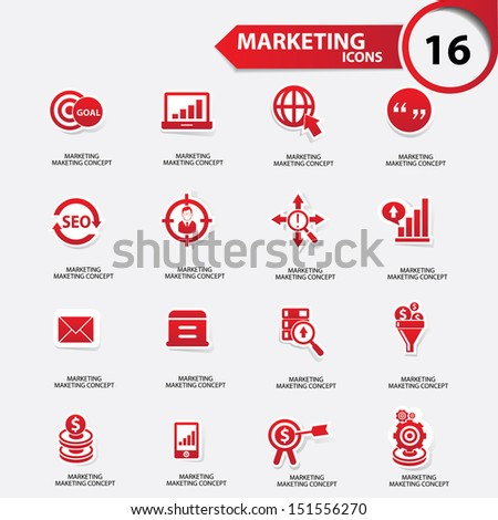 Marketing icons,Red version,vector - stock vector