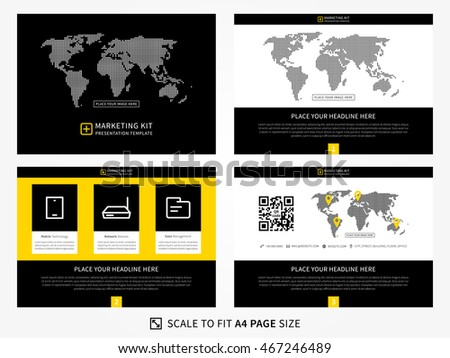 marketing kit presentation vector template modern stock vector 467246489 shutterstock. Black Bedroom Furniture Sets. Home Design Ideas