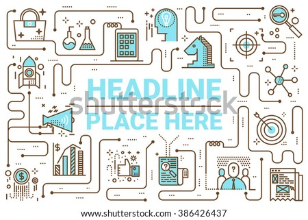 Marketing line icons illustration for website or letterhead layout template