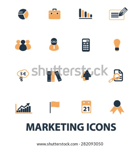 marketing, management icons, signs, illustrations set, vector - stock vector