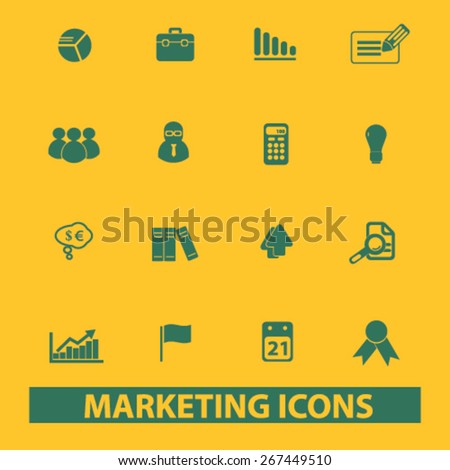 marketing, management, presentation isolated web icons, signs, illustrations concept design set, vector - stock vector