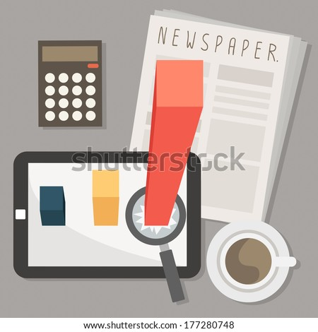 marketing on tablet and newspaper with coffee vector - stock vector