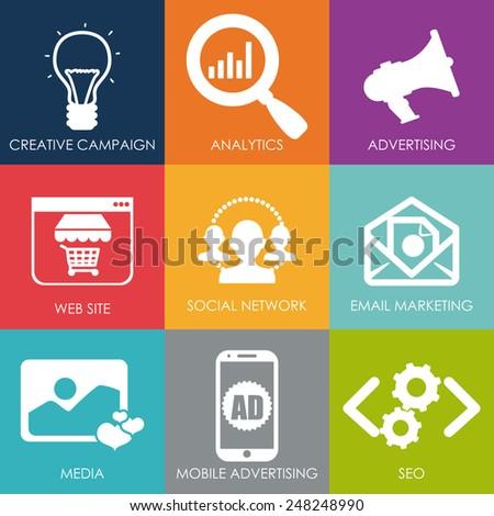 marketing online design, vector illustration eps10 graphic  - stock vector